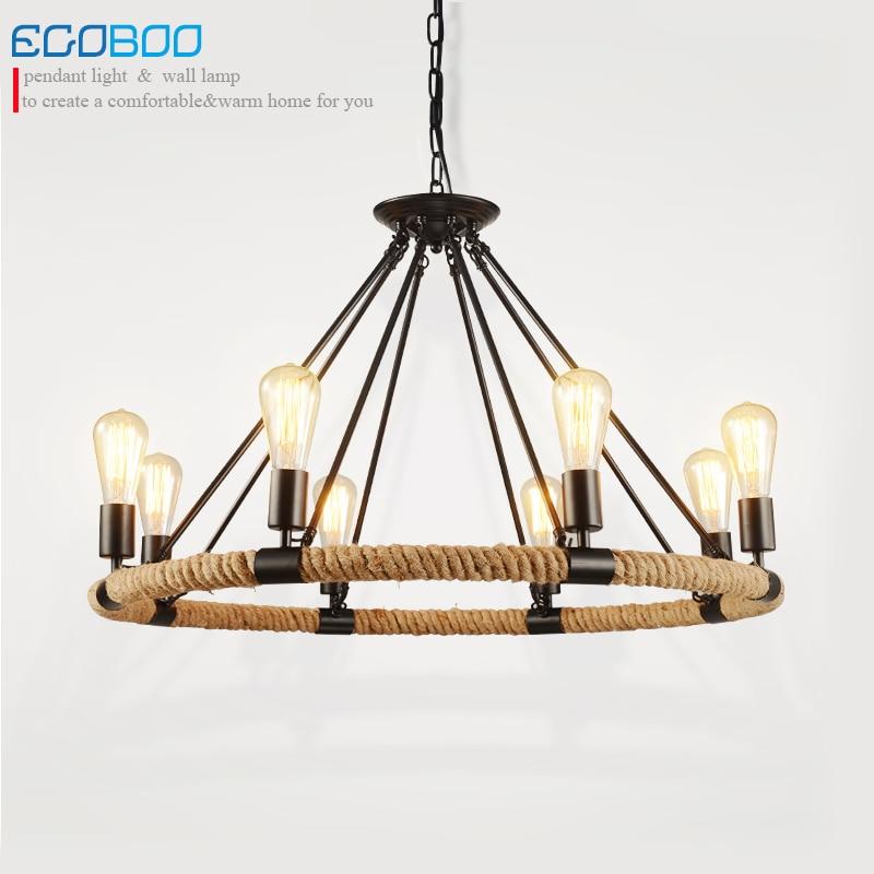 EGOBOO Light Nordic Retro Industrial Wind Iron Chandelier Loft Bedroom Exhibition Hall Restaurant Lighting E27 BULB 100-240V AC