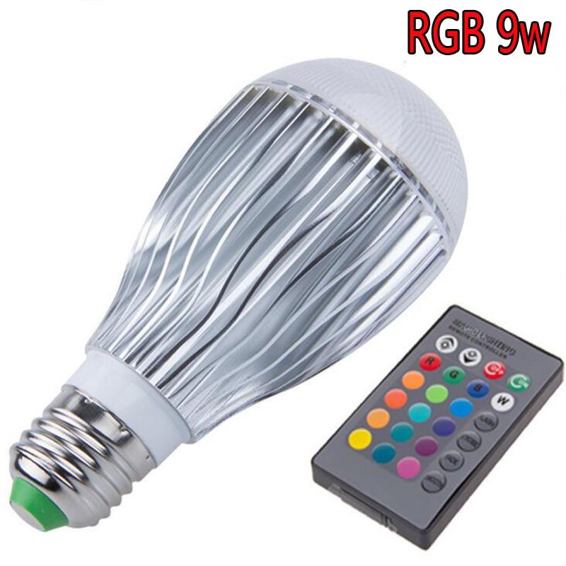 AC85-265V 9W E27 E14 GU10 MR16 RGB Led Lighting Colorful LED Bulb Lamp Spotlight with Remote Control colorful e27 e14 10w 5w rgb led bulb light stage lamp with remote control led lights ac85 265v rgb lighting