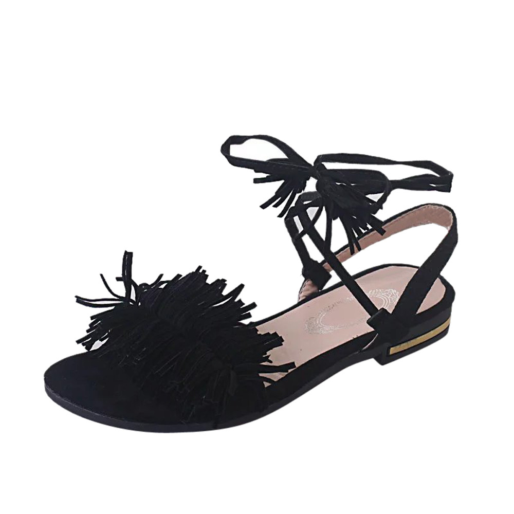 cd7b867bb12 Fashion Summer Women Shoes Sandals Comfort Sandals Tassel Flat Heel Anti  Skidding Open Toe Beach Shoes Sandals Slippers 35 40-in Women s Sandals  from Shoes ...