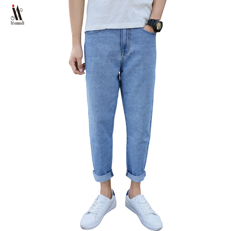 Nine Pants, Holes, Jeans, Men's Loose, Spring, Summer, Korean Version Of The Feet