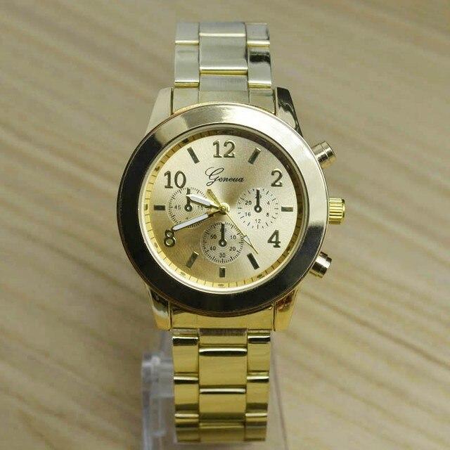 dcc9149a1d7 Luxo Completa de Aço Inoxidável Ouro Rose Gold Prata Genebra Quartz Relógio  de Pulso Relógio de