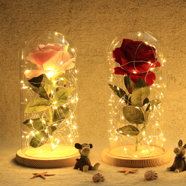 2018 NEW Beauty and the Beast Red Rose in Warm White LED Glass Dome Wooden Base Valentine's Day Gift Tabletop Decoration