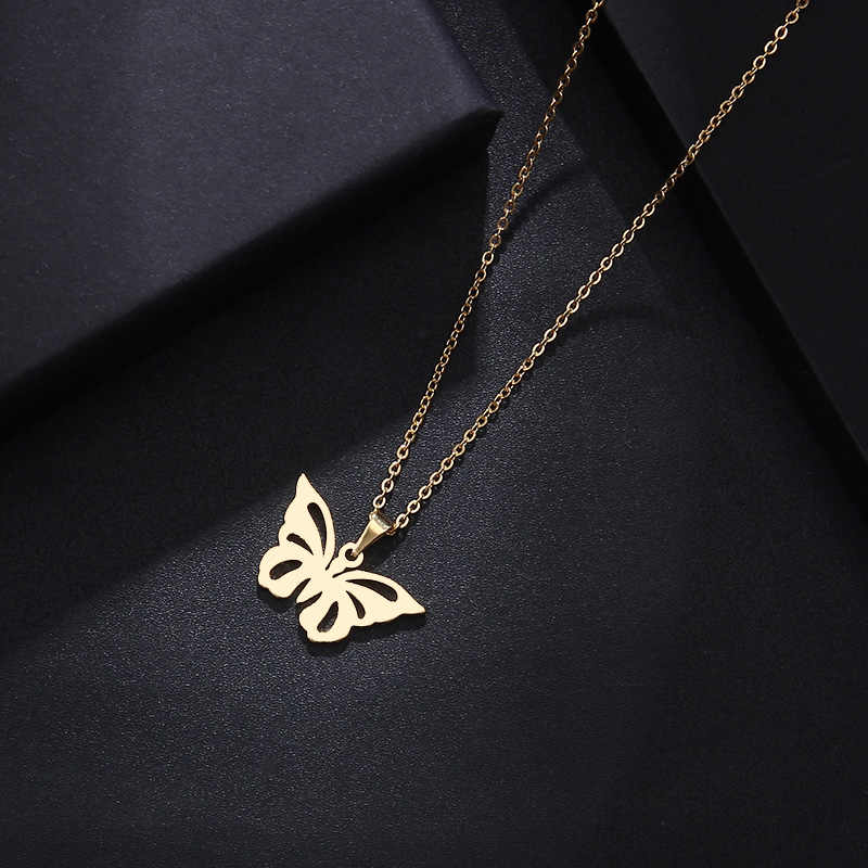 DOTIFI Stainless Steel Necklace For Women Man Lover's Hollow Butterfly Gold And Silver Color Pendant Necklace Engagement Jewelry