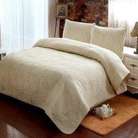 לבן בז 'Vintage פרחוני FADFAY טקסטיל לבית 100% כותנה גודל מלכת סט שמיכת גיליונות שמיכת מיטת סטי בידינג (בז' דקל)