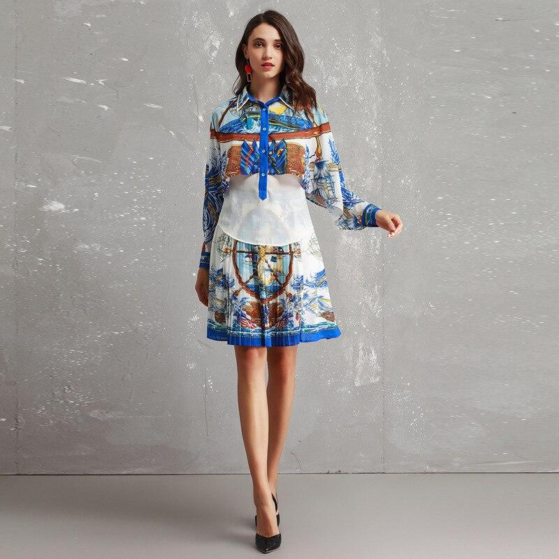 Moitié Creusé De Rétro Mode Femmes Printemps Costume C Manches Jupe Revers Américain Européen 2019 Chemise Impression Été Et Nouveau q6PnY