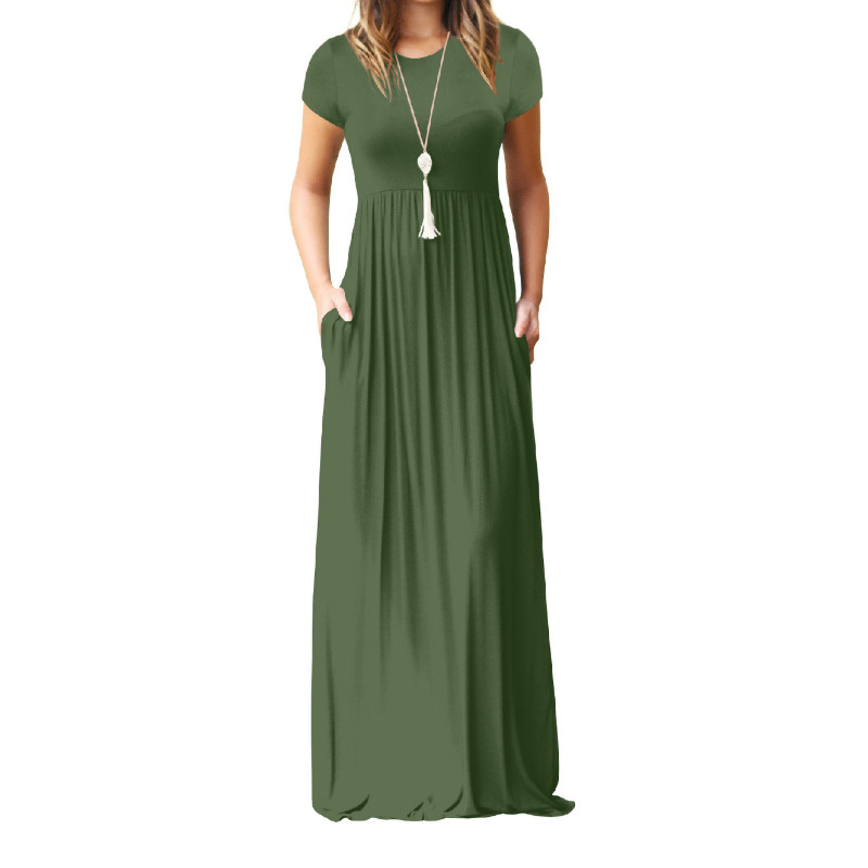 Summer Maxi Long Dress Women Femme Boho Long Dresses Plus Size Casual Pockets New Short Sleeve O-neck Solid Dress S-2XL GV598