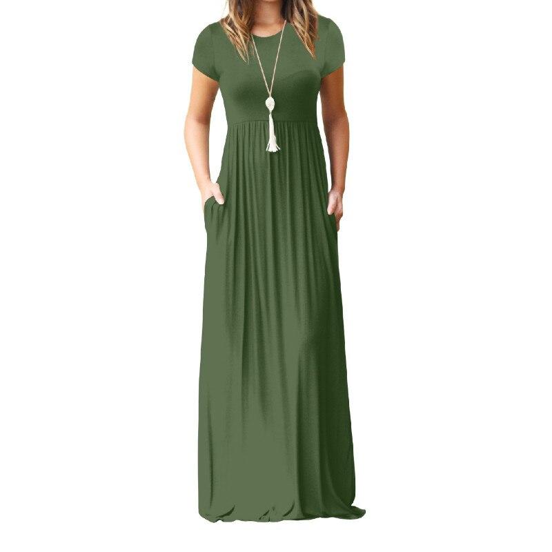 Verano Maxi vestido largo mujeres Femme Boho vestidos largos más tamaño Casual bolsillos nuevo manga corta o-cuello sólido vestido S-2XL GV598