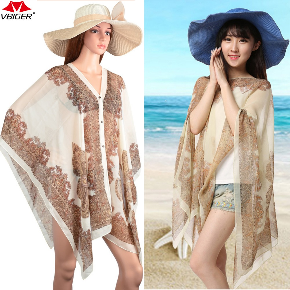 Vbiger Women Beach Cover Up Print Floral Sunproof Bikini Swimsuit Cover Ups Bathing Suit Cover Up Scarf Long Shawl Wrap bikini sarong wrap beach scarf