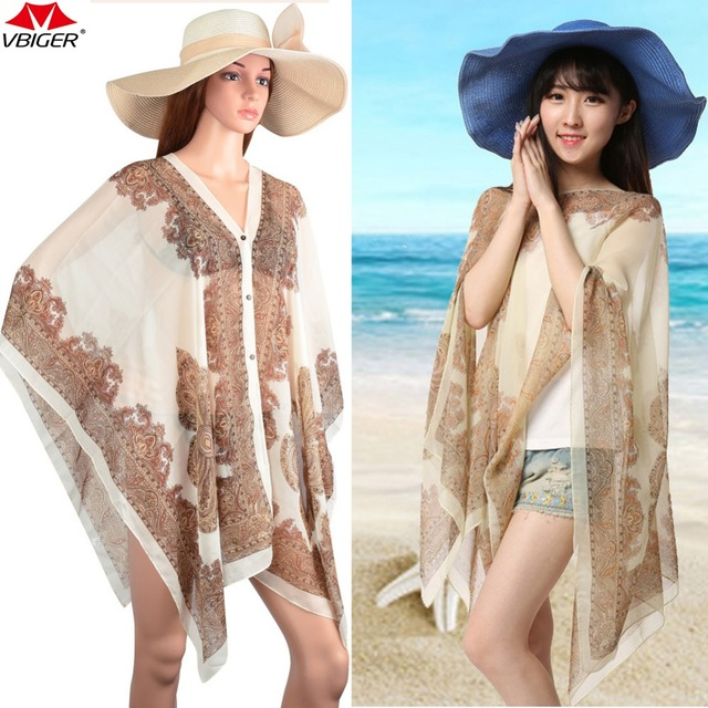 46ed7e6b8fd83 Vbiger Women Beach Cover Up Print Floral Sunproof Bikini Swimsuit Cover Ups  Bathing Suit Cover Up