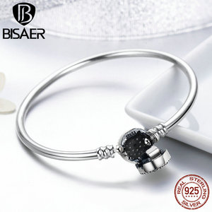 Image 4 - BISAER Real 925 Sterling Silver Blue Lucky Evil Eyes Blue Eye Femme Bracelets & Bangles for Women DIY Accessories Jewelry ECB012