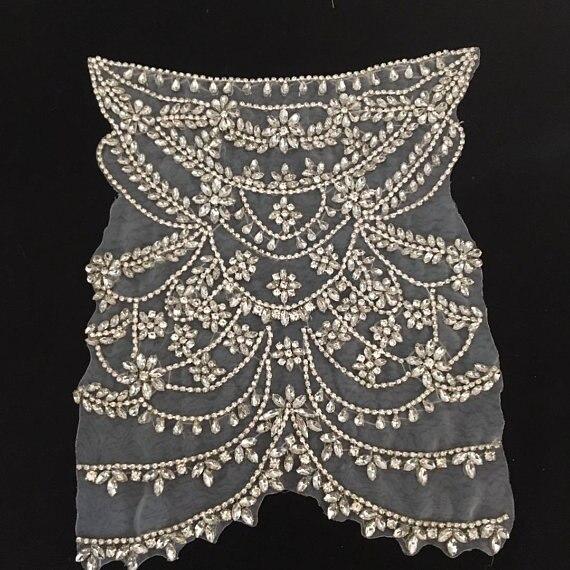 deluxe Rhinestone bodice applique for haute couture 053c20342add