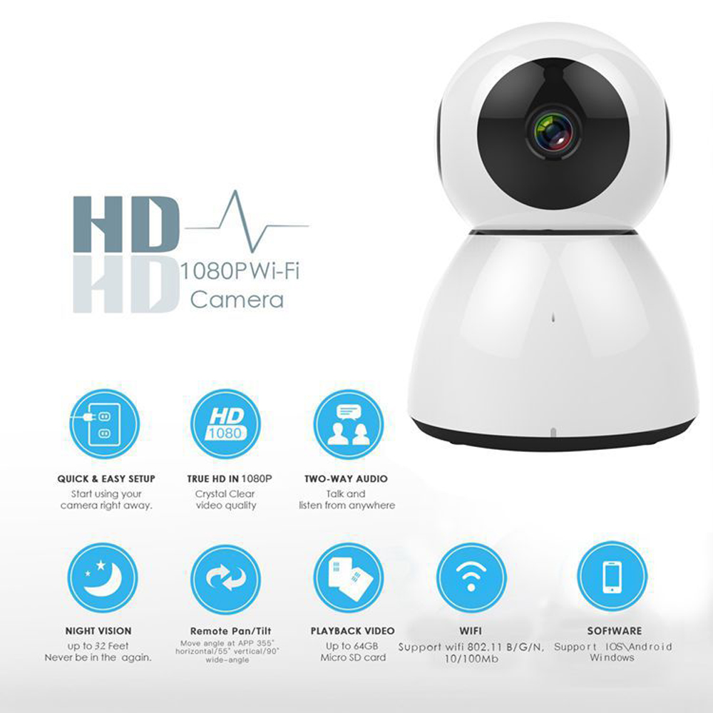 1 PCS HD 1080P Security Alarm IP Camera Wifi IR-Cut Night Vision Audio Recording Surveillance Network Indoor Baby Monitor hjt hd wireless ip camera 720p security wifi ir cut night vision audio recording surveillance network outdoor alarm camhi