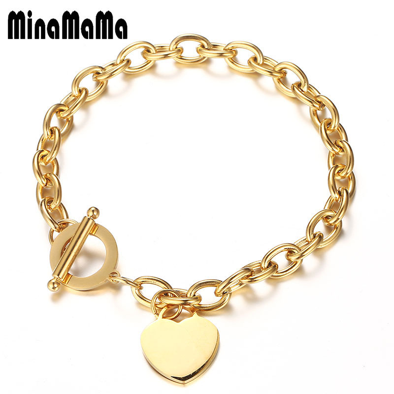 Female Bracelets 316L Stainless Steel Chain Blank Heart Charms Bracelet For Women Rose Gold Color bracelet femme Gift(China)