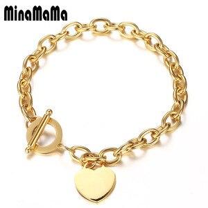 Female Bracelets 316L Stainless Steel Chain Blank Heart Charms Bracelet For Women Rose Gold Color bracelet femme Gift(China)