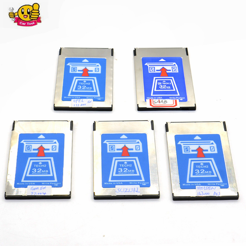 Free shipping 6pcs/lot Top Quality G-M Tech2 Card Tech 2 32MB Memory Card for Opel/G-M/Saab/Isuzu/Holden/Suzuki 6 Software
