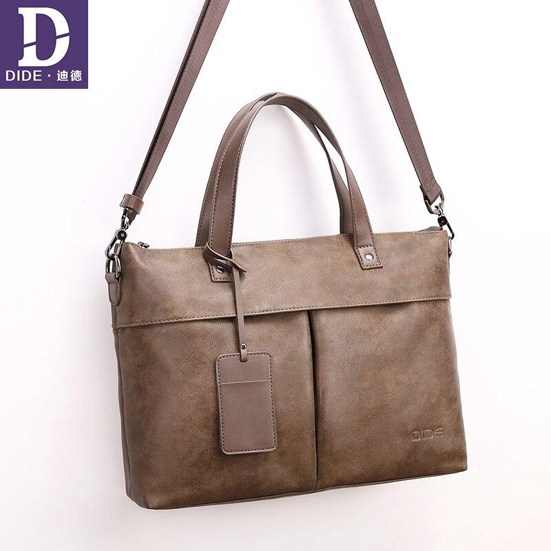DIDE 2018 Business Men Briefcase Bag PU Leather Black Luxury Brand Designer Laptop Bag Male Office Briefcase Handbag