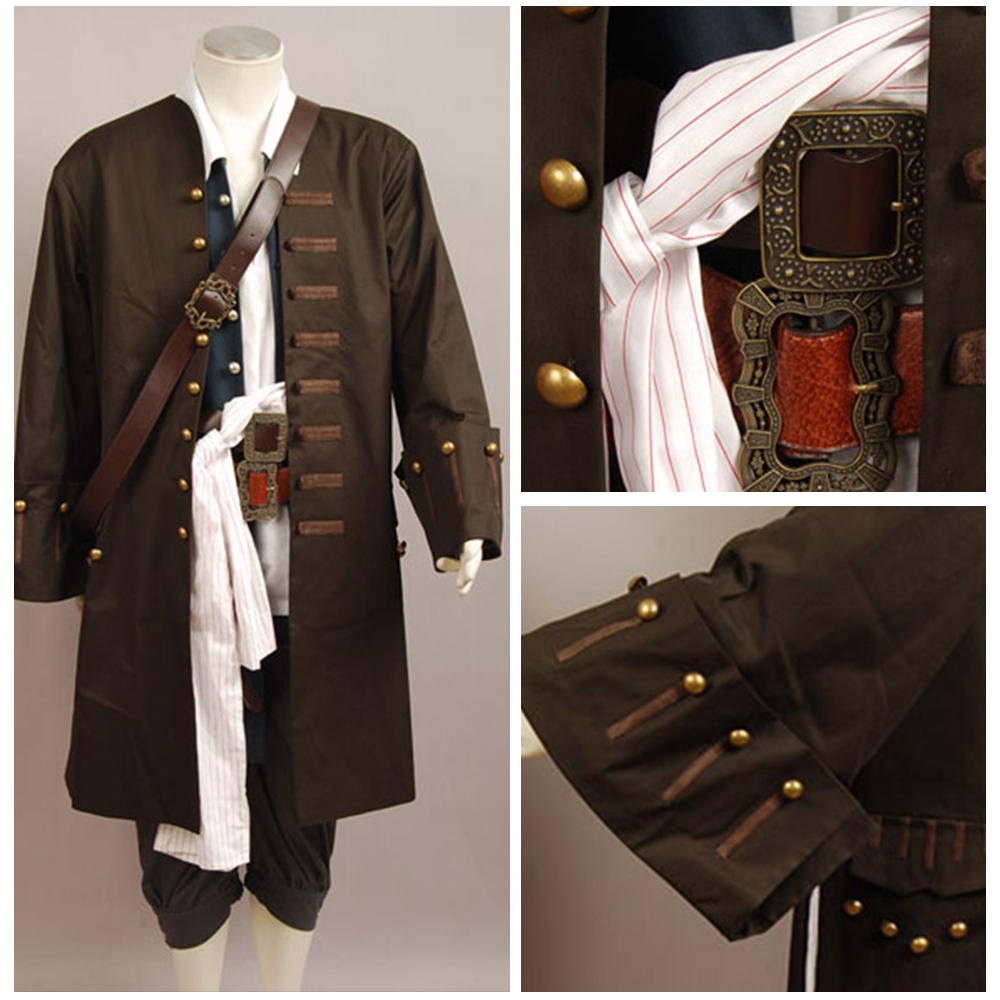Pirates Of The Caribbean Cosplay Jack Sparrow Costume Jacket Vest Belt Shirt Pants Halloween Cosplay Costume Set For Adult Men