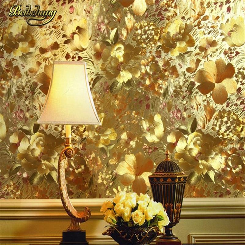 beibehang papel de parede Floral gold foil wallpaper gold embossed background wall wallpaper for living room