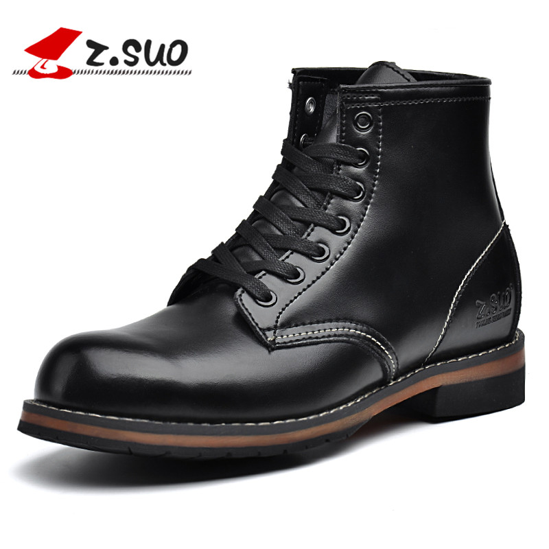 ZSUO Leather Boots Men Autumn Lace-up New Spring Ankle Boots Solid Men's Working Boots Botines Botas Militares Botas De Combate