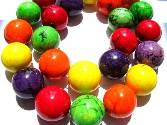 high quality lot turquoise semi precious round ball fuchsia red mixed jewelry beads 16mm --5strands 16inch недорго, оригинальная цена