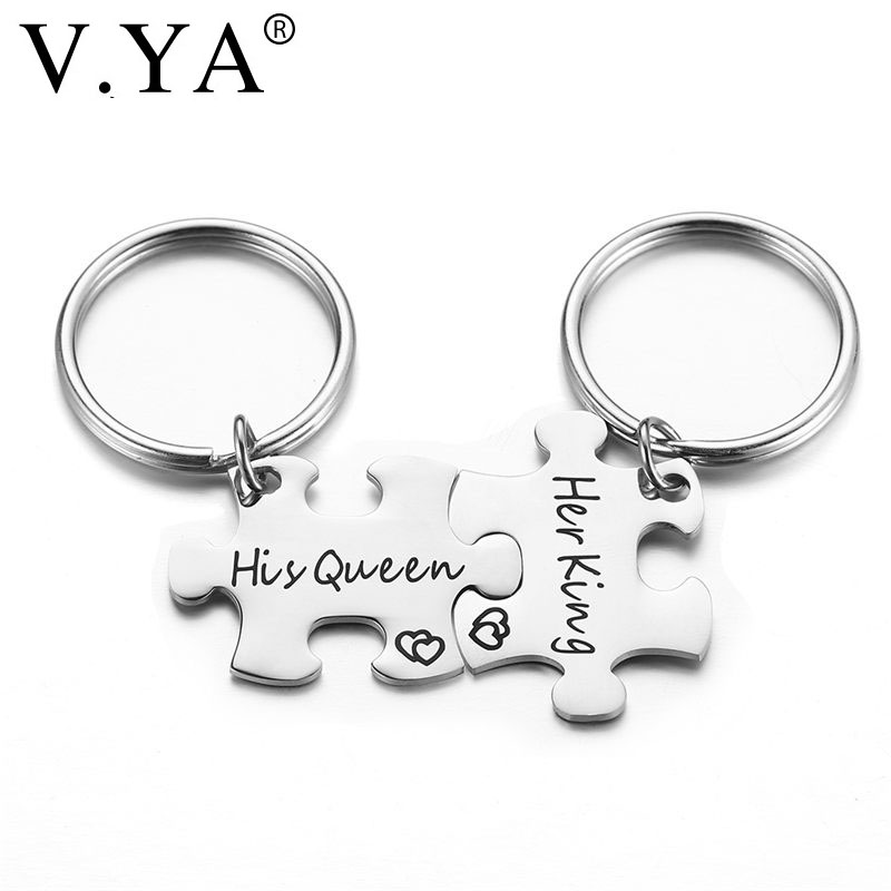 V.Ya New Her King His Queen Keychain King and Queen Couple Key Chain Puzzle Couple Key Rings Lover Wedding Anniversary Gril Gift