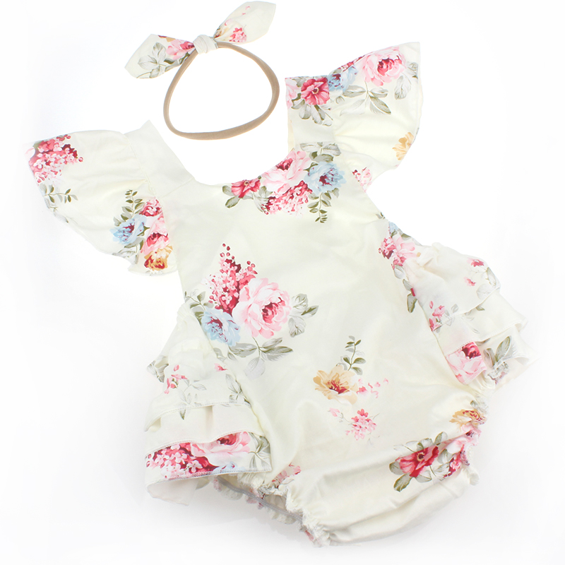 2017 Vintage Newborn Christening Party Baby Girl Clothes,Rosette Cotton Sleeveless One P ...