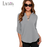 New Sexy 2016 Women Plus Size Clubwear Blouse Sexy 7 Colors Grey V Neck Loose Fitting