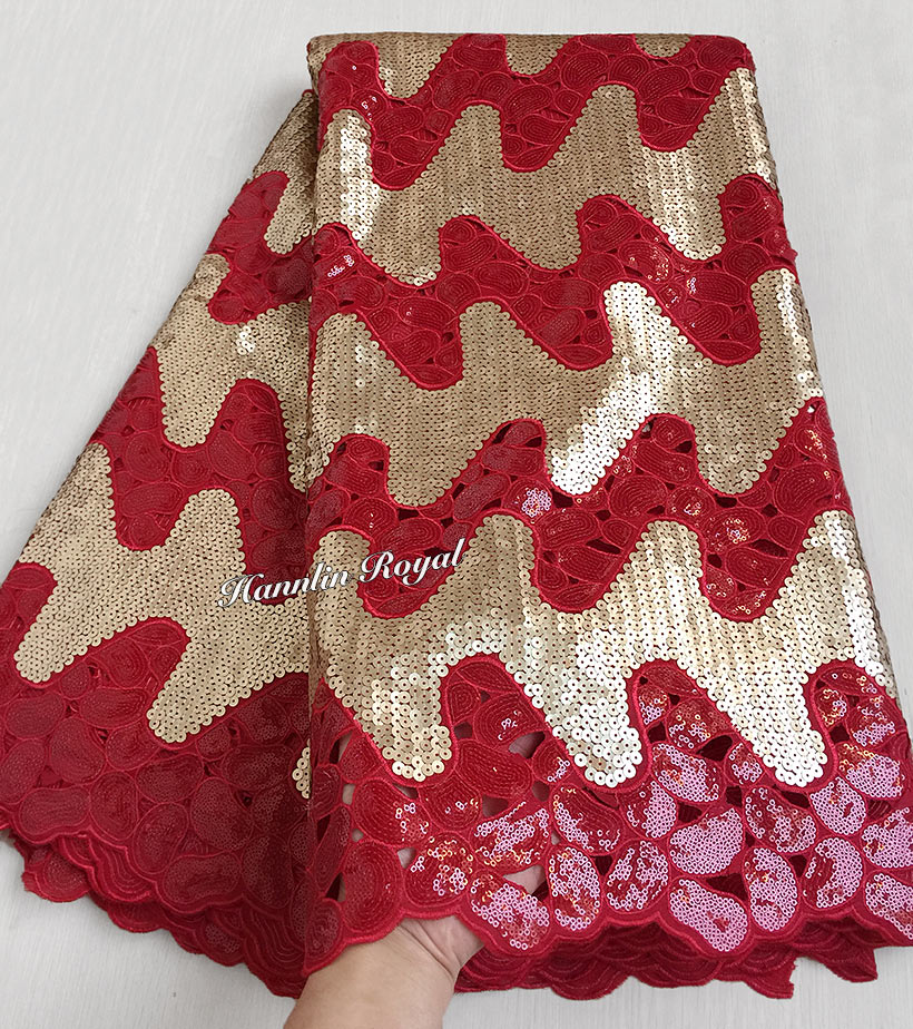 Advanced Red Gold Handcut organza lace African sewing fabric with allover sequins shine and high quality