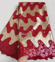 Advanced Red Gold Handcut organza lace African sewing fabric with allover sequins shine and high quality 5 yards/ PC 6103