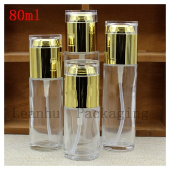 80ml X10PC Clear Spray Bottle With Golden Acrylic Lotion Bottle Glass Lid 80cc Essence Liquid Container Bright Skin Water Bottle