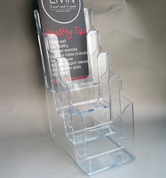 Free Shipping Clear A6 Tiers Pocket Plastic Brochure Literature Display Magazine Holder Racks Stand To Insert