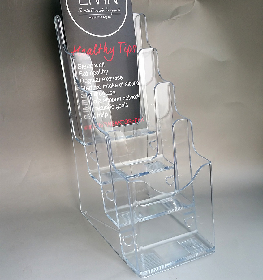 4 Tiers Plastic Acrylic A6 Brochure Literature Display Holder Racks Stands To Insert Leaflet On Desktop Good Packing