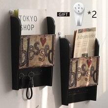 Vintage llavero de madera organizador llave retro caja colgante de pared carta de correo caja de almacenamiento hogar decorativo estante con gancho de llave