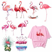 Iron on Lovely Flamingo Patches for Girl Clothing DIY T-shirt Applique Heat Transfer Vinyl Stickers on Clothes Thermal Press lovely shoes applique t shirt