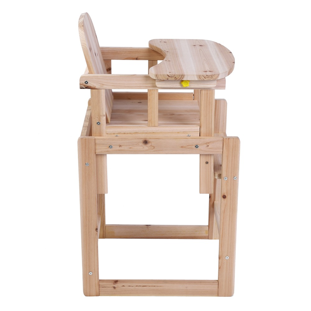 Wooden Baby High Chair Us 27 13 Baby Feeding Chair Table Set Solid Wooden Detachable Highchair With Adjustable Tray In Dining Chairs From Furniture On Aliexpress