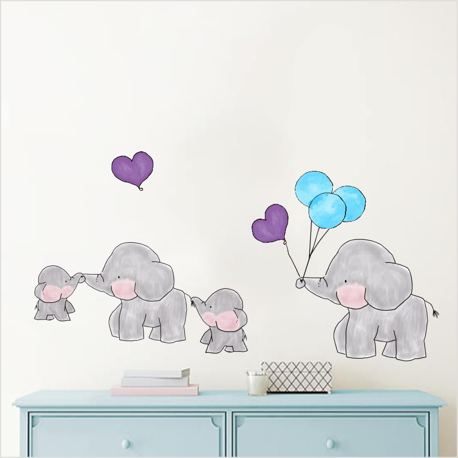 Cartoon Wald Tier Elefant Farbe Wandaufkleber Fur Kinderzimmer Bunte