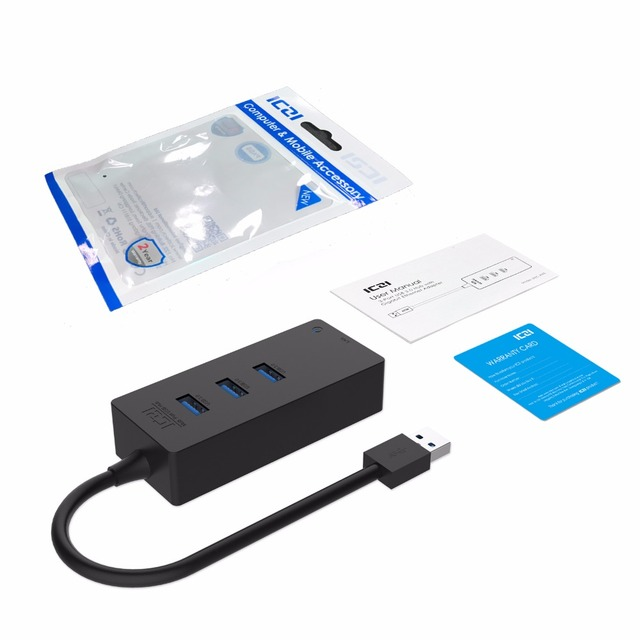 ICZI USB 3.0 Hub Super Speed External USB 3.0 Ports for Data Transfer +Lan Hub for Mac Windows and Laptops USB Hub Network