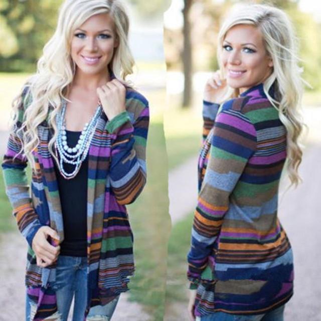 Nuevas mujeres de rayas de manga larga chaqueta de punto suéter flojo Outwear chaqueta de la capa asimétrico rayas Multicolor Cardigan