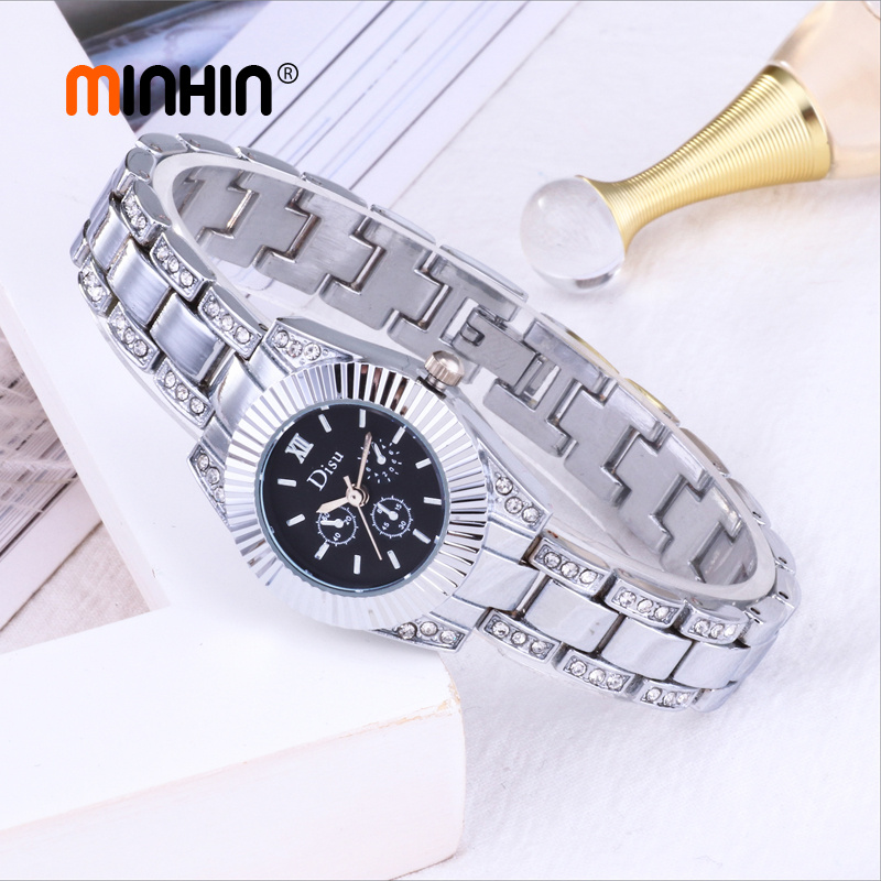 MINHIN Fashion Casual Dress Watches For Women Gold Silver Plated Ladies Graceful Wedding Bracelet Watch Relogio Femme