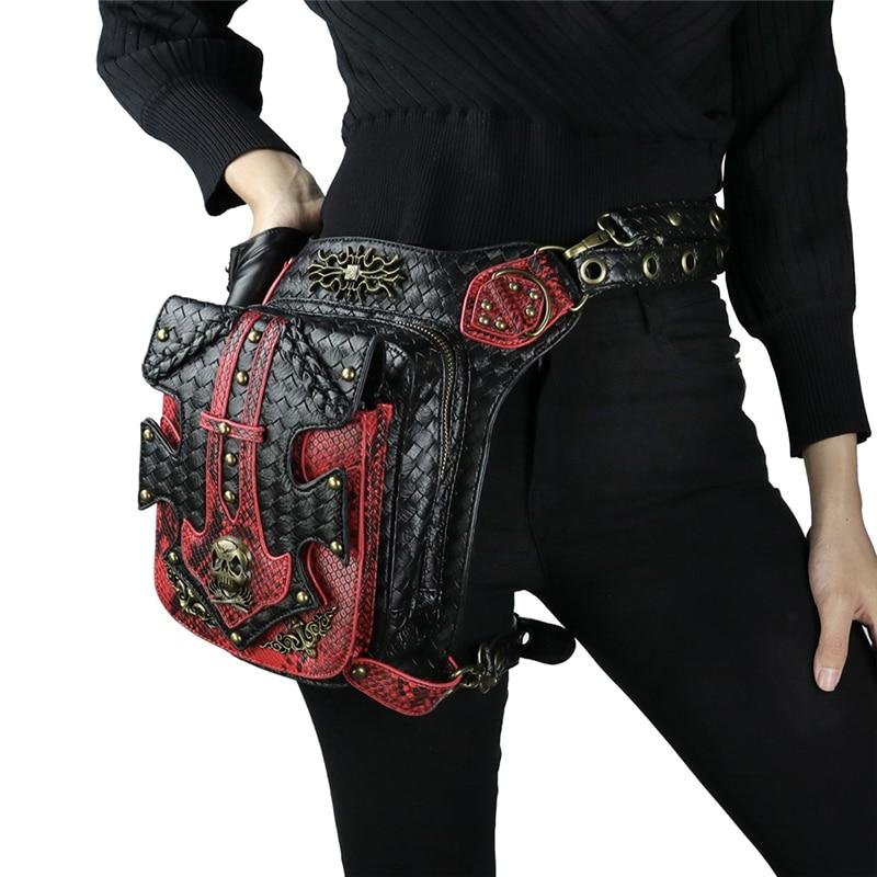 Punk crâne taille sacs hommes Vintage moto jambe sac rouge noir en cuir Rivets Messenger sac Vintage mode Rock femmes sacs-in Bandoulière Sacs from Baggages et sacs    3