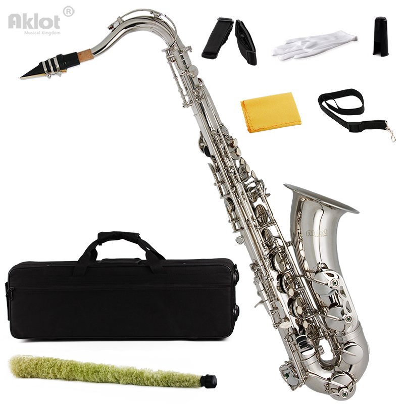 aklot bb tenor saxophone sax nikel plated with neck strap and cleaning kit best wind instrument. Black Bedroom Furniture Sets. Home Design Ideas