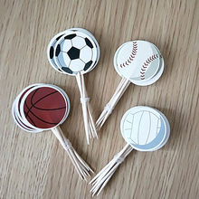 24/48pcs Boys Basketball Football Theme Cake Topper Happy Birthday Party Soccer Cupcake Toppers With Sticks Decorate Baby Shower(China)