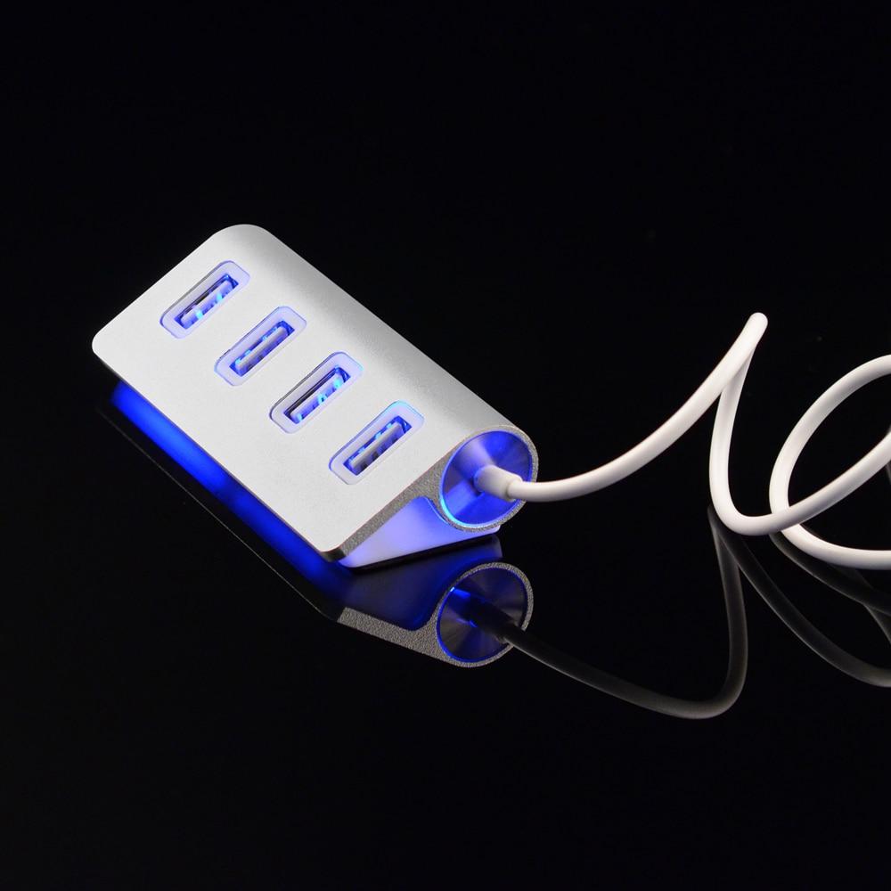 LED High Performance Aluminum Computer HUD 4 Port Aluminum font b USB b font Hub FOR