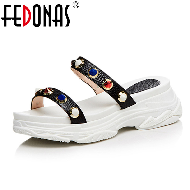FEDONAS 2018 New Sexy Women Rivets Sandals Wedges High Heels Gladiator Fashion Summer Party Female Genuine Leather Shoes Woman mabaiwan women shoes genuine leather summer sandals casual platform wedge shoes woman rivets gladiator wedges breathable sandal