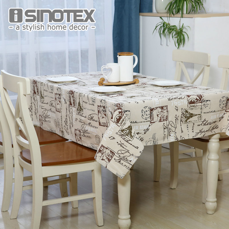 The Coffe Dandelion Linen Table Cloth Country Style Eiffel Tower Print  Multifunctional Rectangle Table Cover Tablecloth