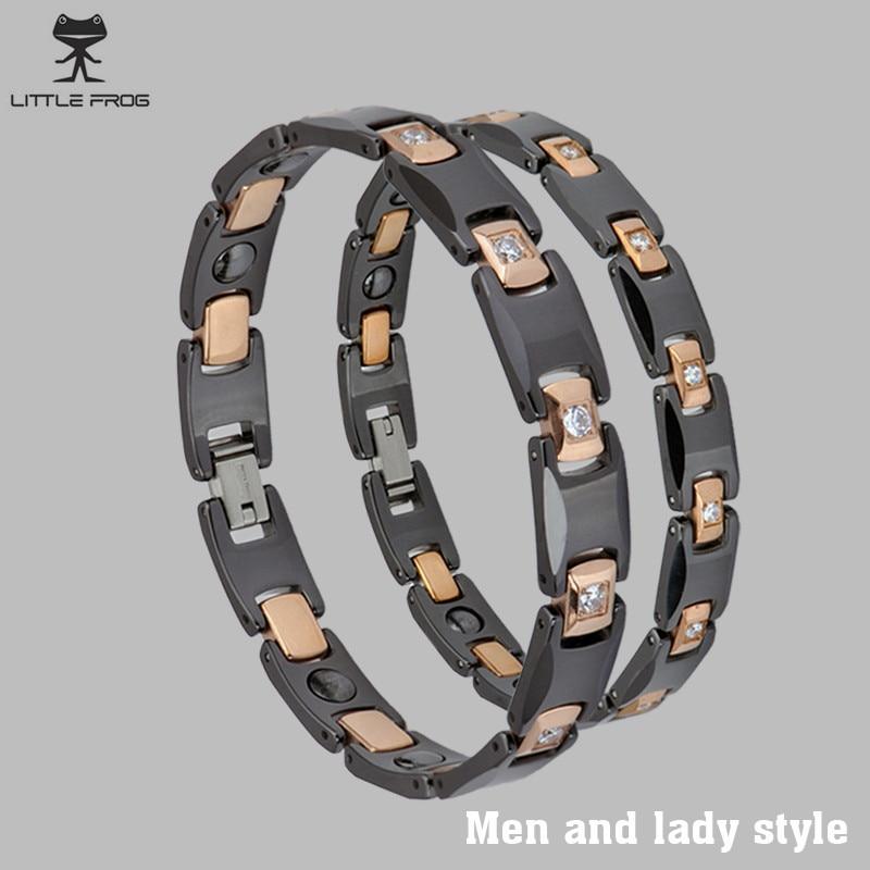 LITTLE FROG Black Ceramic Bracelet for Lover Chain Link Healing Energy Magnetic CNC Zircon Gold-color Care Bracelets & Bangles