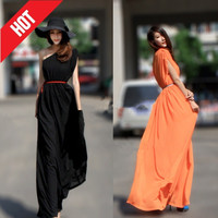 2014 Spring Summer European And American New Fashion Women Elegant Plus Size Maxi Long One Shoulder