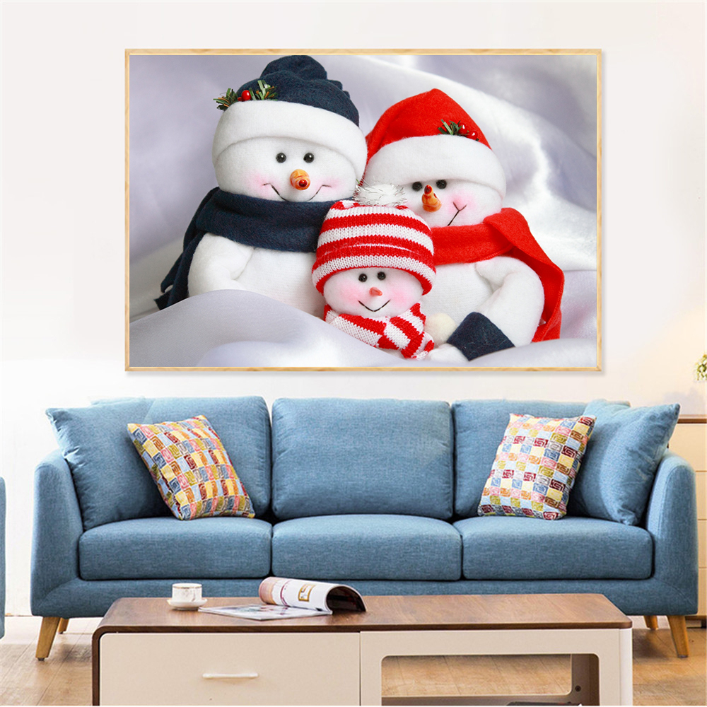 Canvas Wall Pictures Snowman Family New Year Christmas ...