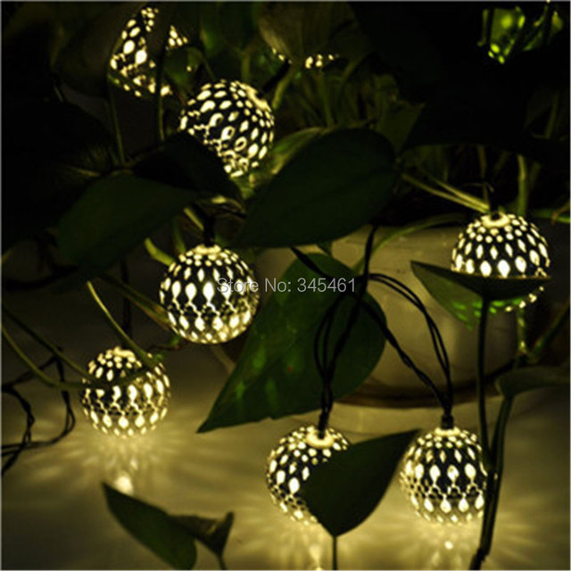 New 10 Balls/Set Solar Powered Warm white Light String Moroccan String LED Fairy Lights Christmas Decoration Christmas LED Lamp