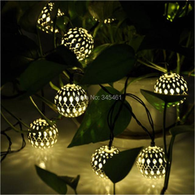 Nueva 10 Bolas/Set Marroquí Con Energía Solar Cadena Luz blanca Cálida LED String de Hadas Luces de Navidad Decoración de Navidad LED lámpara